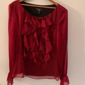 Beautiful ruffle bib holiday blouse